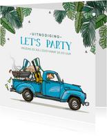 Uitnodiging Amerikaanse pick-up truck blauw