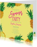 Uitnodiging Ananas trendy geel