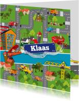 Uitnodiging auto vervoer voertuigen plattegrond