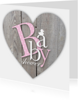 Uitnodiging babyshower letters houtlook hart