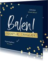 Uitnodiging balen feestje inhalen confetti