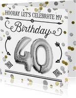 Uitnodiging ballon zilver 40  en confetti