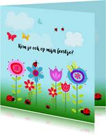 Uitnodiging bloemen-beestjes