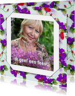Uitnodiging bloemen en foto RB