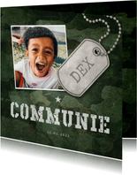 Uitnodiging communie army stoer met foto en legerplaatje