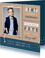 Uitnodiging communie feest jongen stoer kraft