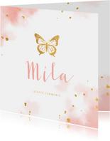 Uitnodiging communie gouden vlinder met waterverf