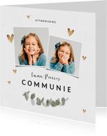 Uitnodiging communie hartjes goud eucalyptus foto's