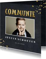 Uitnodiging communie krijtbord foto en gouden spetters