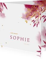 Uitnodiging communie met gouden bladeren en roze waterverf