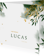 Uitnodiging communie met groene waterverf en gouden bladeren