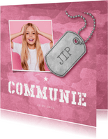 Uitnodiging communie roze stoer met foto en legerplaatje