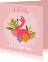 Uitnodiging eerste communie flamingo, blaadjes en bloemen