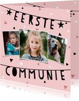 Uitnodiging eerste communie met slinger, confetti en foto's