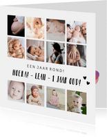 Uitnodiging eerste verjaardag kind - 12 maanden kaart