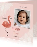 Uitnodiging eerste verjaardag meisje flamingo jungle & foto