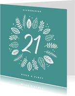 Uitnodiging etentje 21 diner hip en trendy met blaadjes