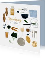 Uitnodiging etentje feestje met eten en drinken illustraties