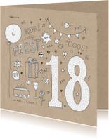 Uitnodigingen - Uitnodiging feest 18 jaar