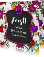 Uitnodiging feest bord en bloemen