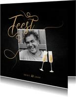 Uitnodiging feest champagne met foto en gouden linten