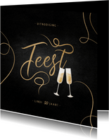 Uitnodiging feest champagne met gouden linten