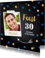 Uitnodiging feest foto blauwe confetti