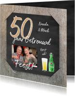 Jubileumkaarten - Uitnodiging feest krijt hout RB