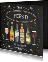 Uitnodiging feest wijn