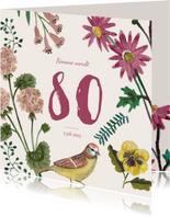 Uitnodiging Feestje 80 Bloemen Botanisch