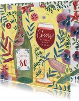 Uitnodiging feestje botanische bloemen met wijn