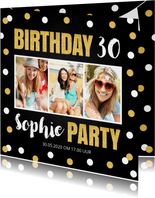 Uitnodiging feestje fotocollage confetti goud krijtbord
