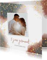 Uitnodiging feestje huwelijksjubileum waterverf en goud