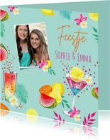 Uitnodiging feestje tropical