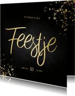 Uitnodiging feestje vierkant goud fotocollage met spetters