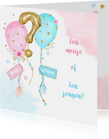 Uitnodiging gender reveal party balonnen
