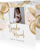 Uitnodiging gender reveal party met ballonnen en goud