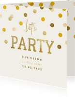 Uitnodiging gouden 'let's party' met confetti