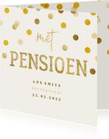 Uitnodiging gouden 'met pensioen' met confetti