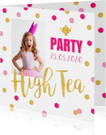 Uitnodiging High Tea confetti goud roze