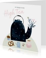 Uitnodiging High Tea met illustratie theepot