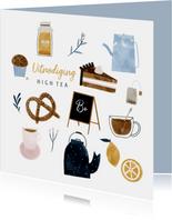 Uitnodiging High Tea met vrolijke illustraties