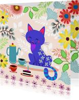 Uitnodiging High Tea met vrolijke kat en bloemen