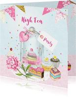 Uitnodiging High Tea stolp taartjes