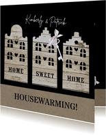 Uitnodiging housewarming houten huisjes
