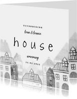 Uitnodiging housewarming met huisjes diepte