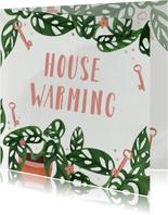 Uitnodiging housewarming met Monstera en sleutels