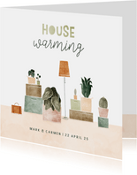 Uitnodiging housewarming met plantjes en verhuisdozen