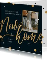 Uitnodiging housewarming new home goud confetti foto