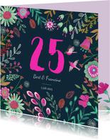 Uitnodiging Huwelijks jubileum 25 jaar bloemen